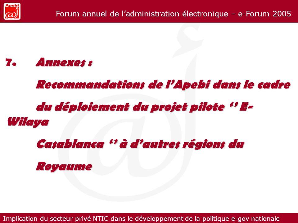 7. Annexes : Recommandations de l'Apebi dans le cadre. du déploiement du projet pilote '' E-Wilaya.