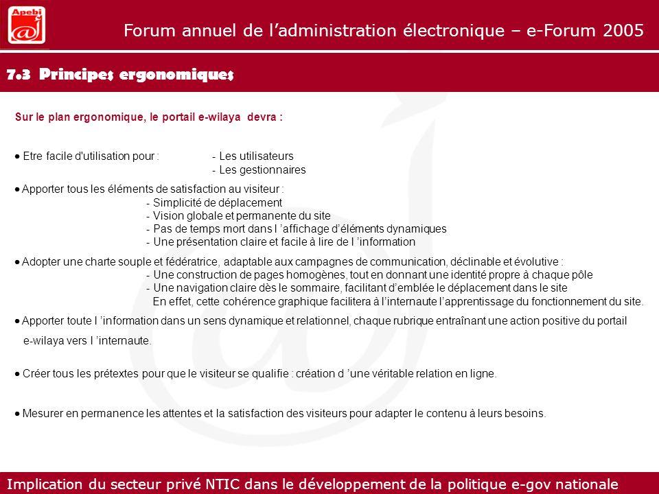 7.3 Principes ergonomiques