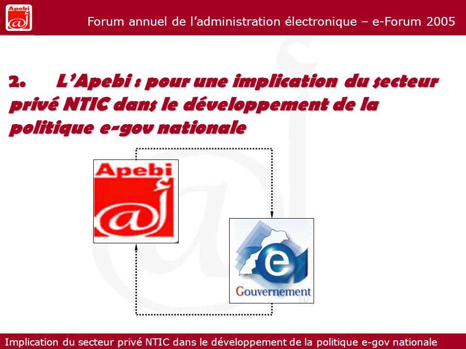 2. L'Apebi : pour une implication du secteur privé NTIC dans le développement de la politique e-gov nationale