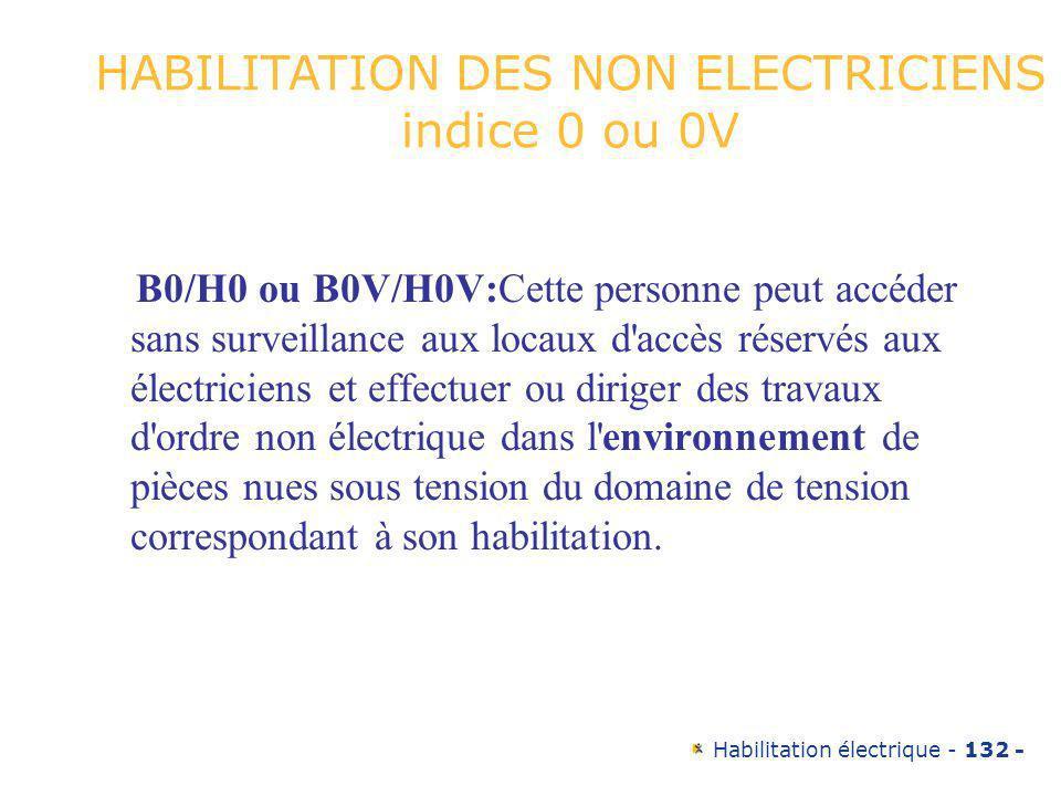 HABILITATION DES NON ELECTRICIENS indice 0 ou 0V