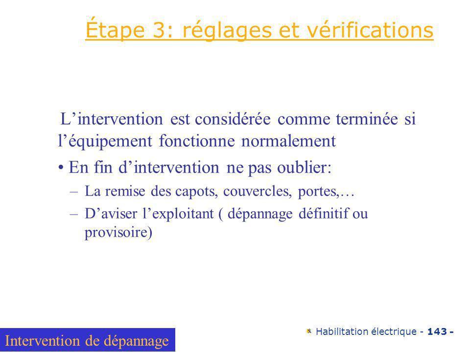 Étape 3: réglages et vérifications