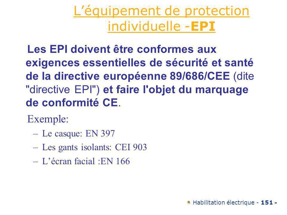 L'équipement de protection individuelle -EPI
