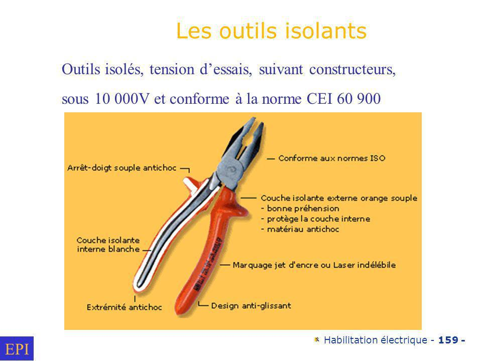 Les outils isolants Outils isolés, tension d'essais, suivant constructeurs, sous 10 000V et conforme à la norme CEI 60 900.