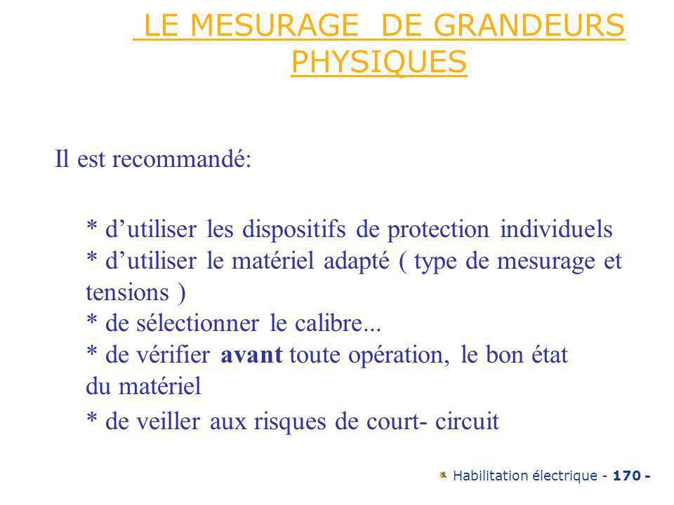 LE MESURAGE DE GRANDEURS PHYSIQUES