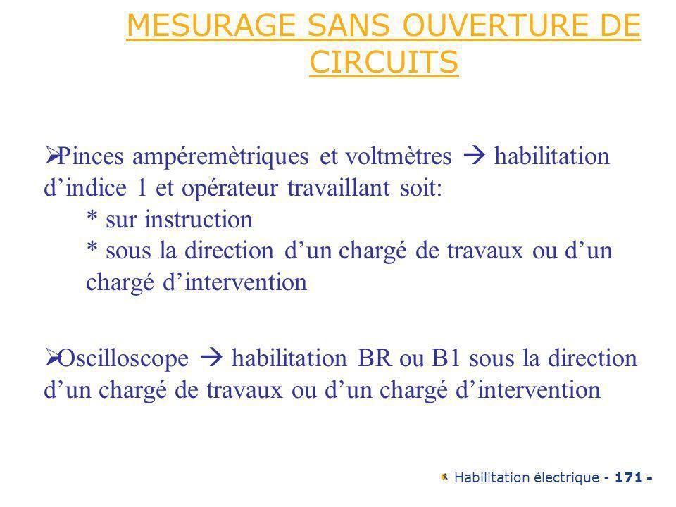 MESURAGE SANS OUVERTURE DE CIRCUITS