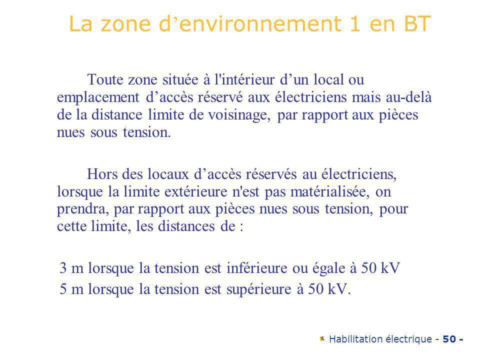 La zone d'environnement 1 en BT