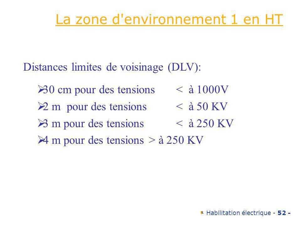 La zone d environnement 1 en HT