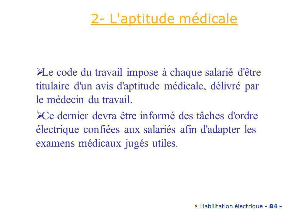 2- L aptitude médicale Le code du travail impose à chaque salarié d être titulaire d un avis d aptitude médicale, délivré par le médecin du travail.