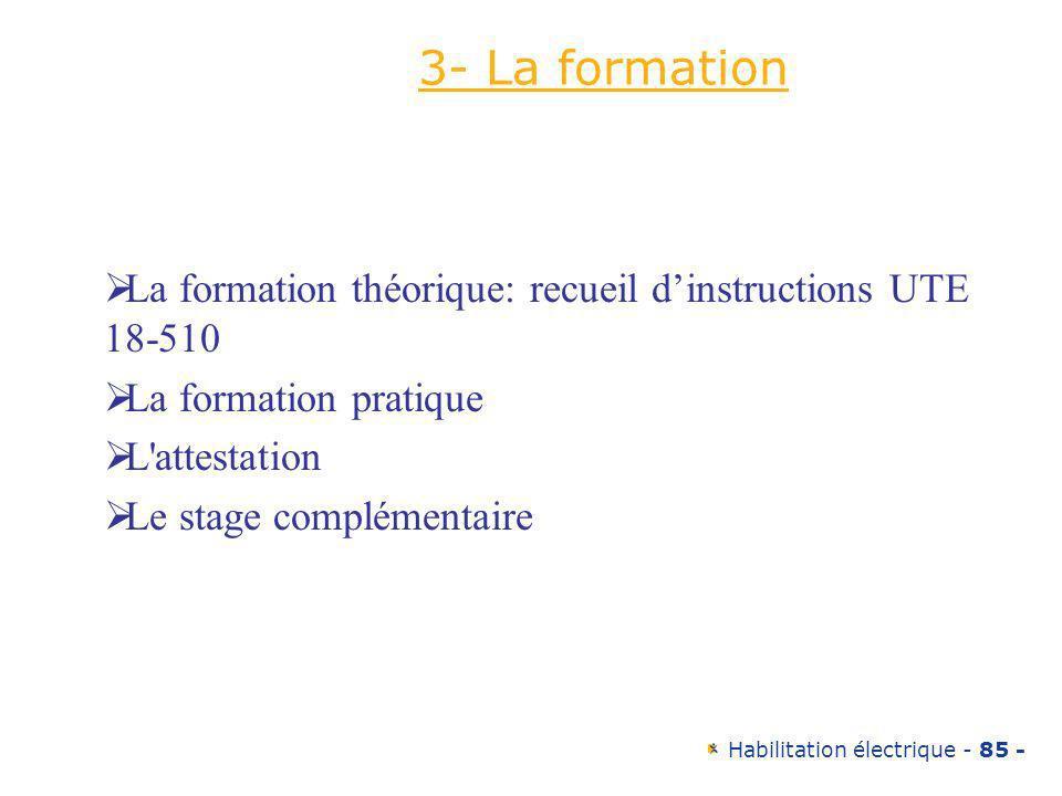 3- La formation La formation théorique: recueil d'instructions UTE 18-510. La formation pratique. L attestation.