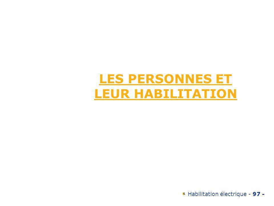 LES PERSONNES ET LEUR HABILITATION