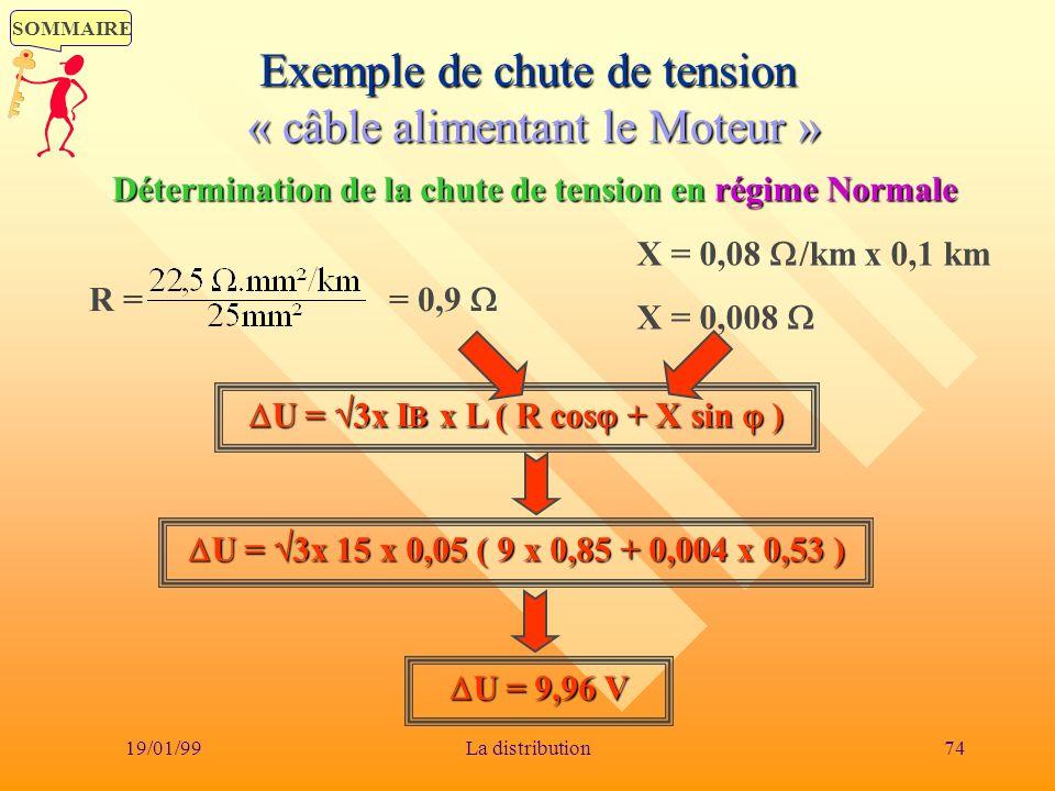 Exemple de chute de tension « câble alimentant le Moteur »