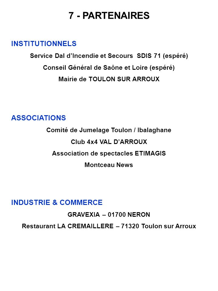 7 - PARTENAIRES INSTITUTIONNELS ASSOCIATIONS INDUSTRIE & COMMERCE