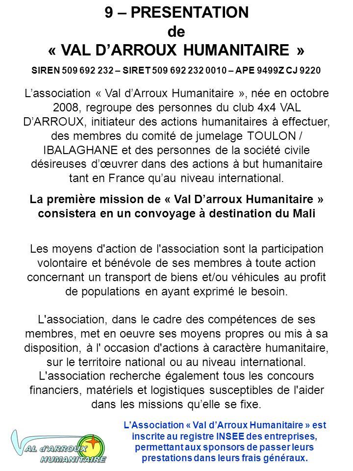 9 – PRESENTATION de « VAL D'ARROUX HUMANITAIRE »