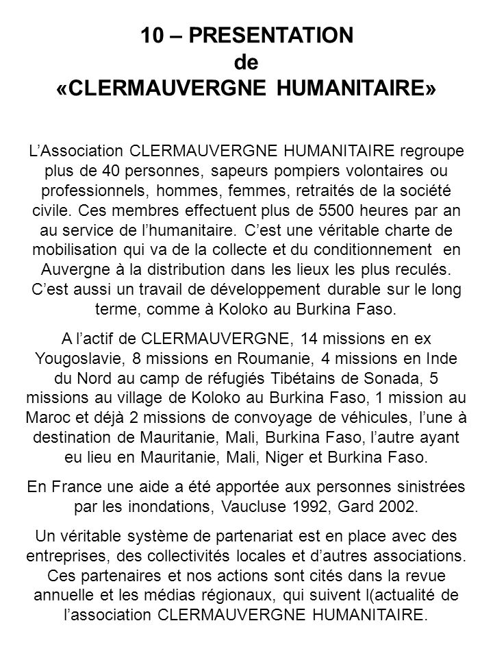 10 – PRESENTATION de «CLERMAUVERGNE HUMANITAIRE»