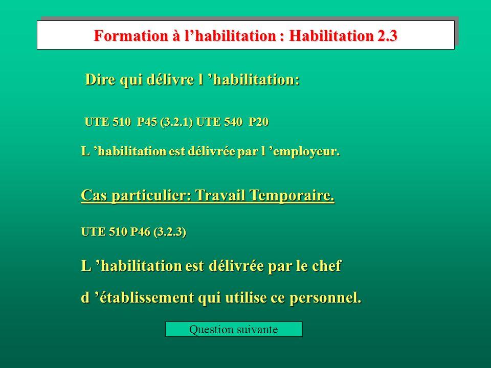 Formation à l'habilitation : Habilitation 2.3