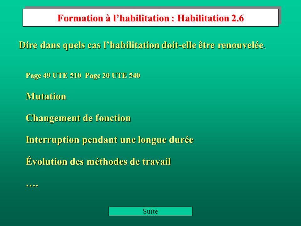 Formation à l'habilitation : Habilitation 2.6