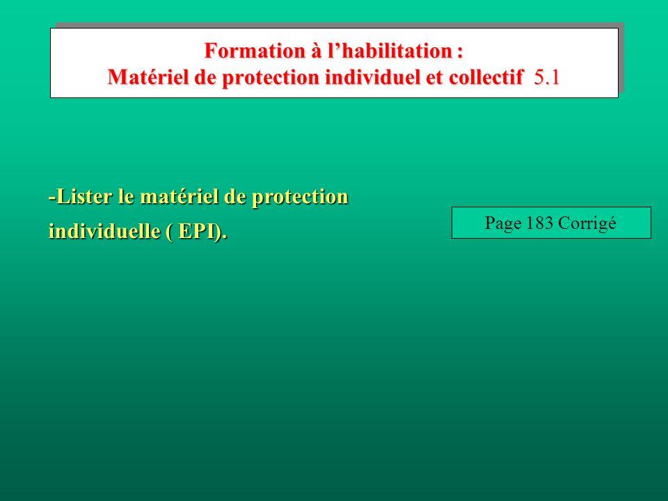 -Lister le matériel de protection individuelle ( EPI).