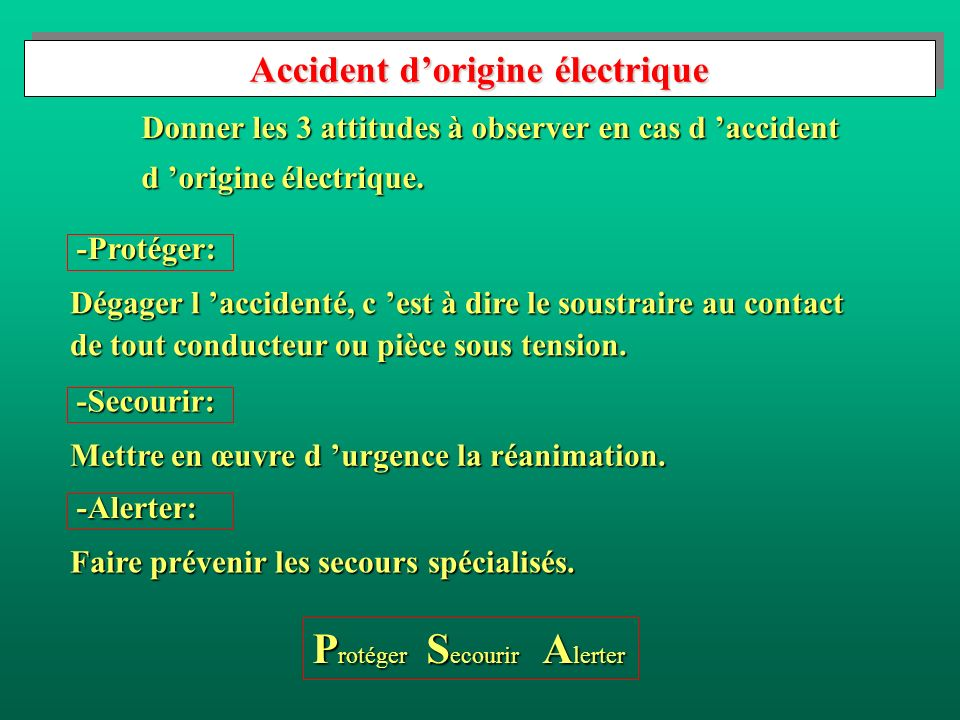 Accident d'origine électrique