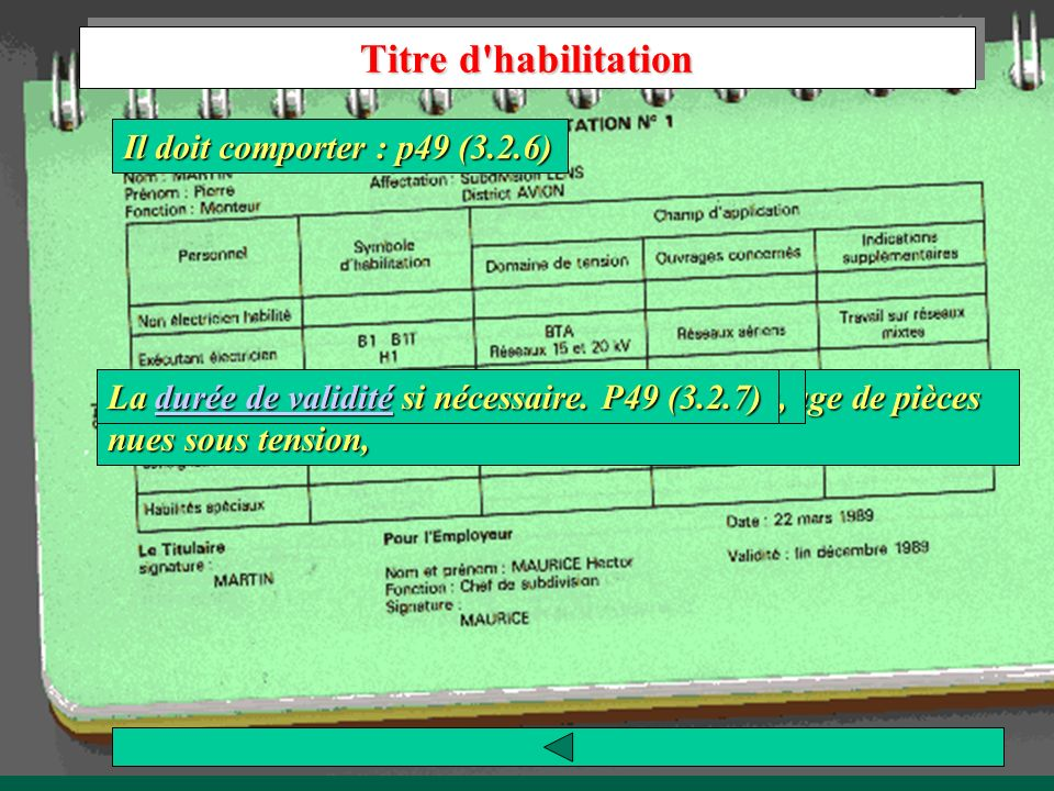 Titre d habilitation Il doit comporter : p49 (3.2.6)