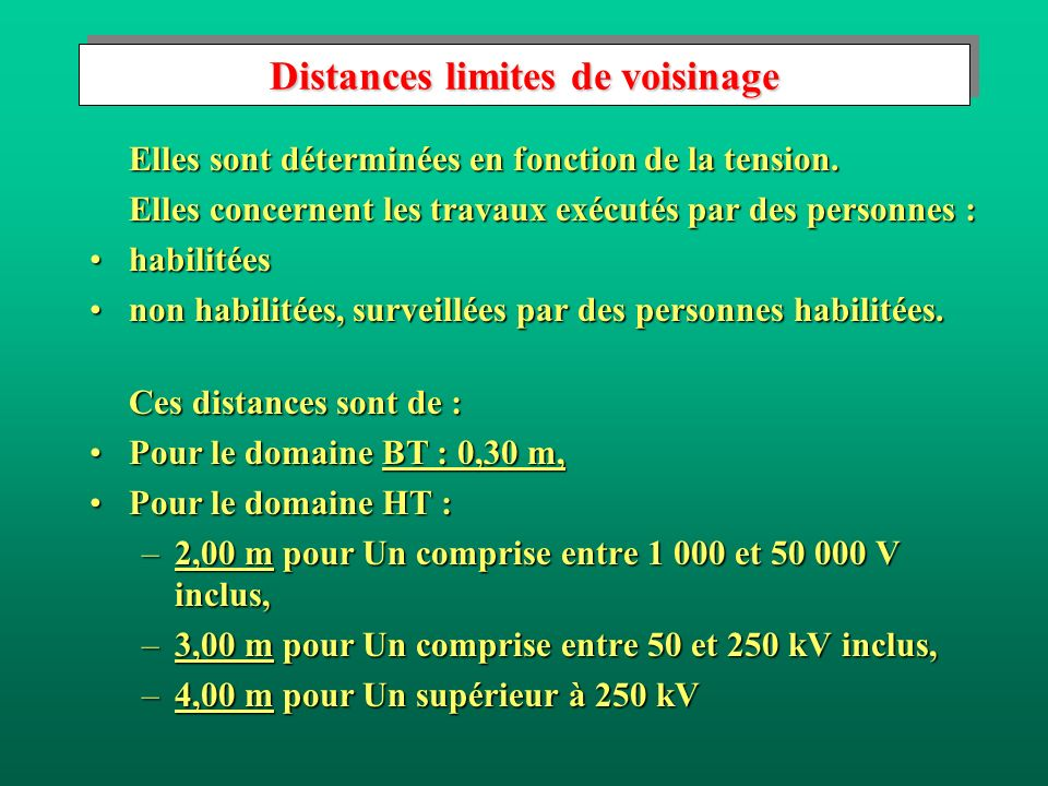 Distances limites de voisinage