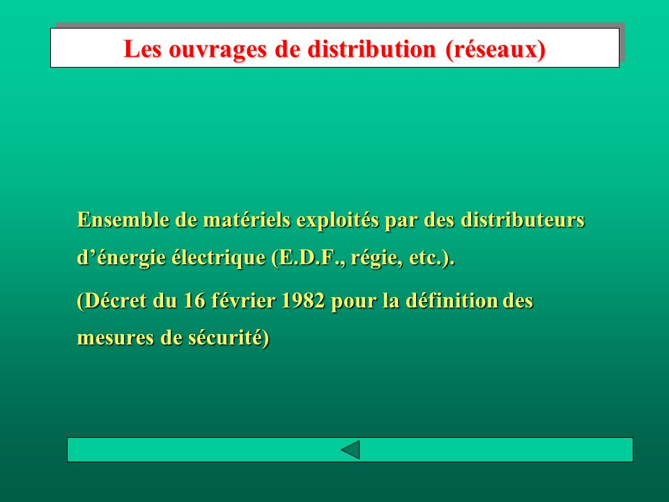Les ouvrages de distribution (réseaux)