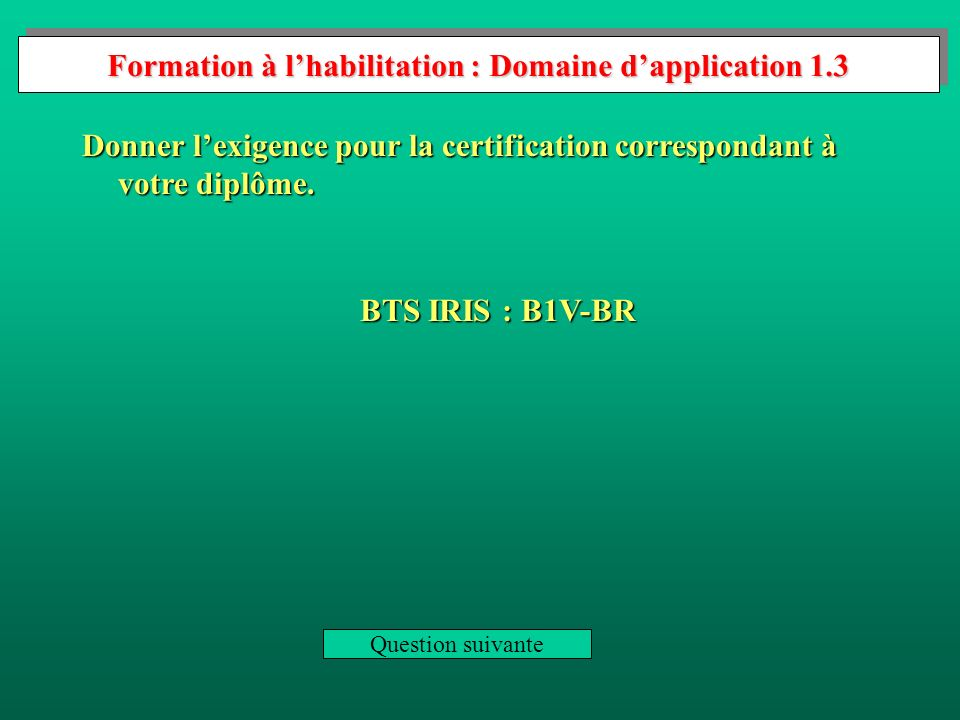 Formation à l'habilitation : Domaine d'application 1.3