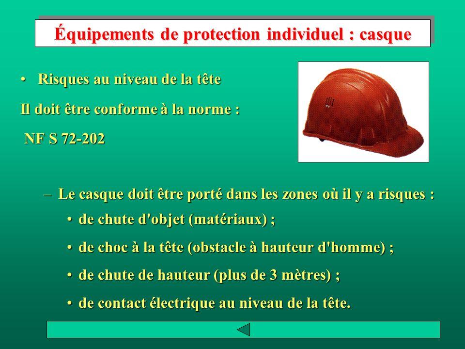 Équipements de protection individuel : casque