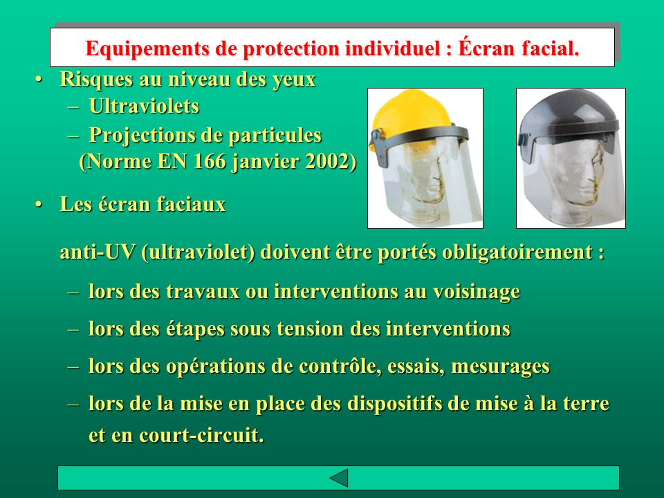 Equipements de protection individuel : Écran facial.