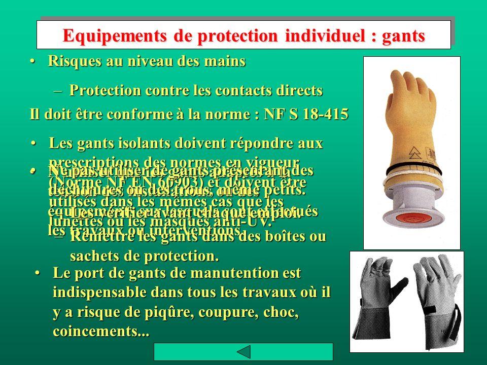Equipements de protection individuel : gants