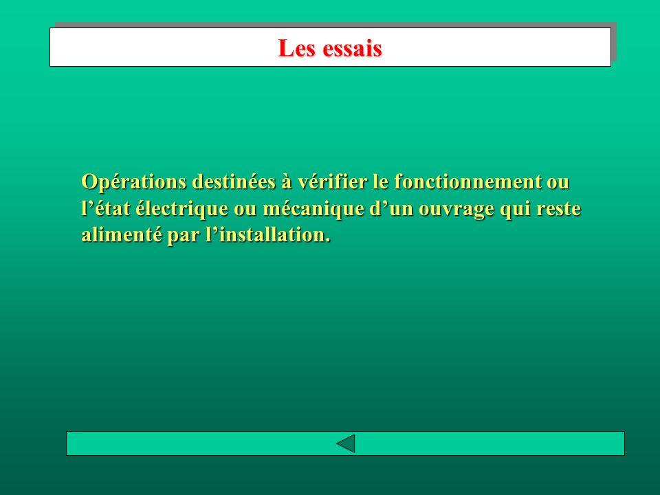 Les essais Opérations destinées à vérifier le fonctionnement ou l'état électrique ou mécanique d'un ouvrage qui reste alimenté par l'installation.