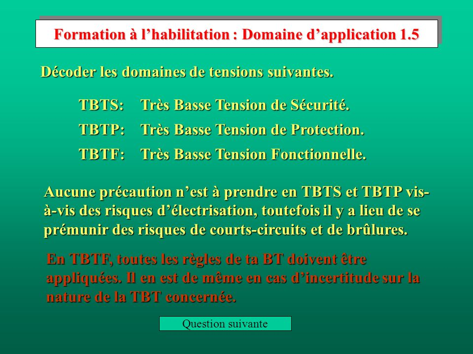 Formation à l'habilitation : Domaine d'application 1.5