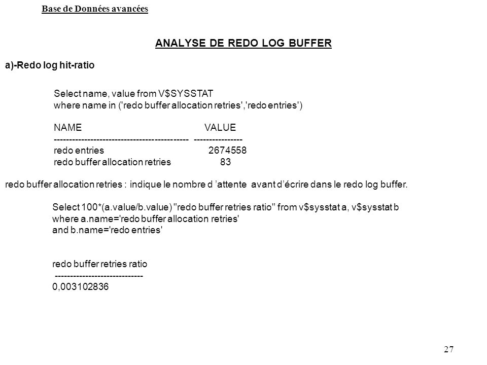 ANALYSE DE REDO LOG BUFFER