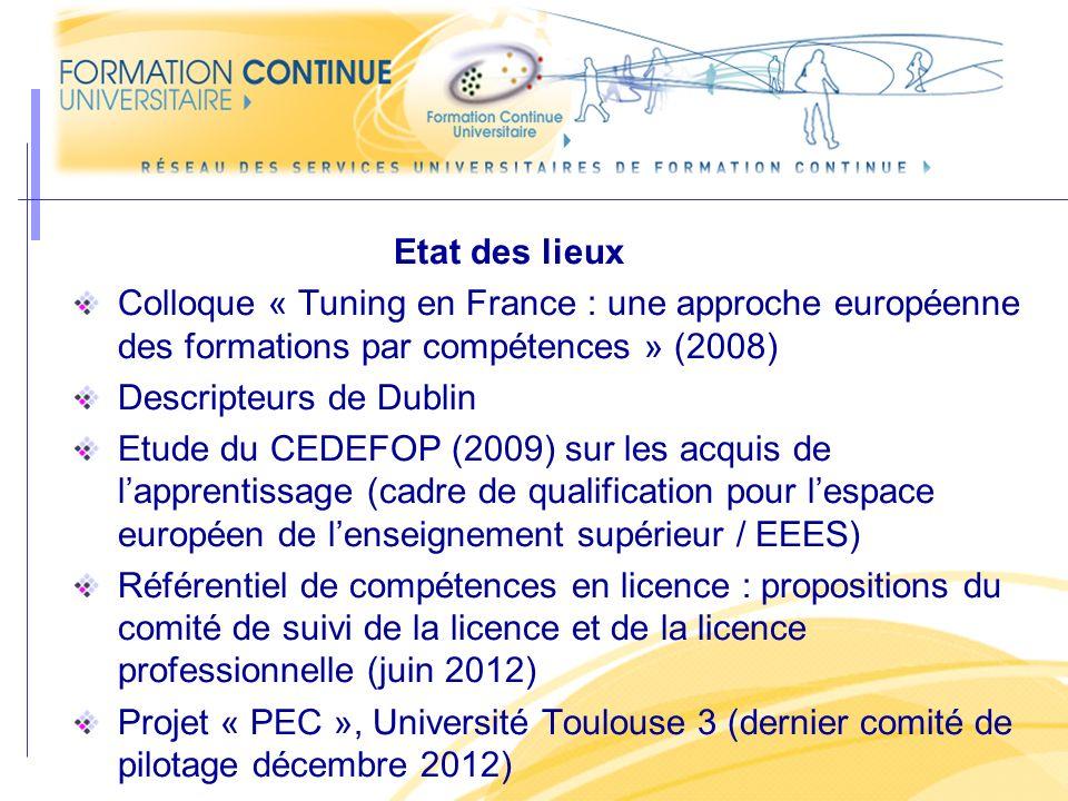 Etat des lieux Colloque « Tuning en France : une approche européenne des formations par compétences » (2008)