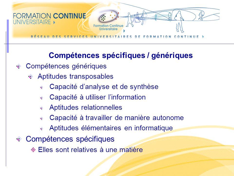 Compétences spécifiques / génériques
