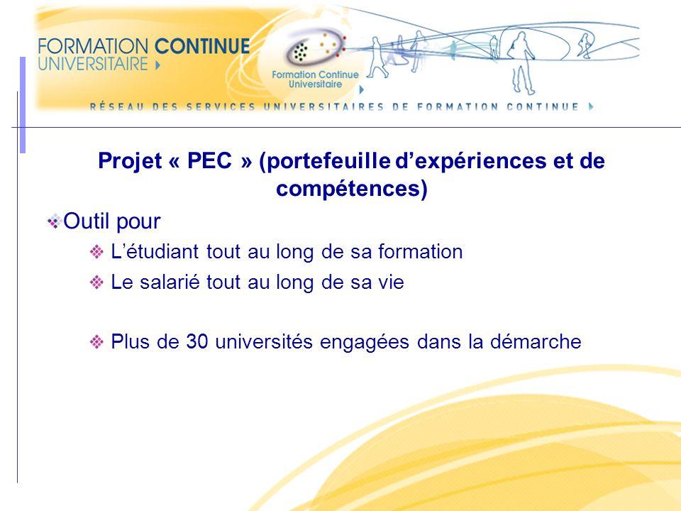Projet « PEC » (portefeuille d'expériences et de compétences)