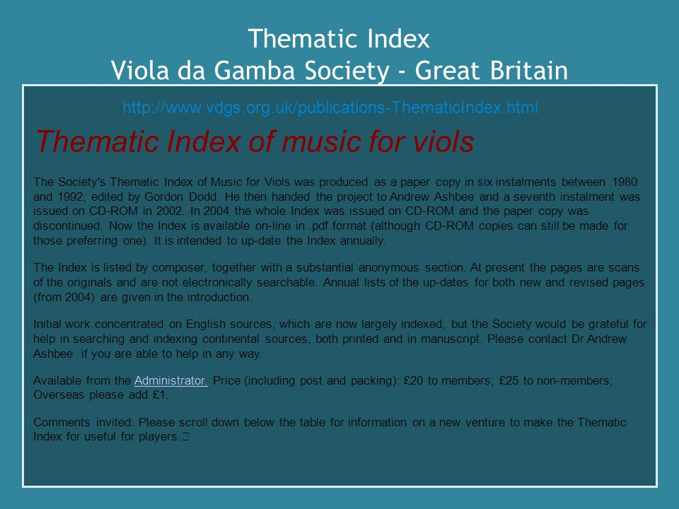 Thematic Index Viola da Gamba Society - Great Britain