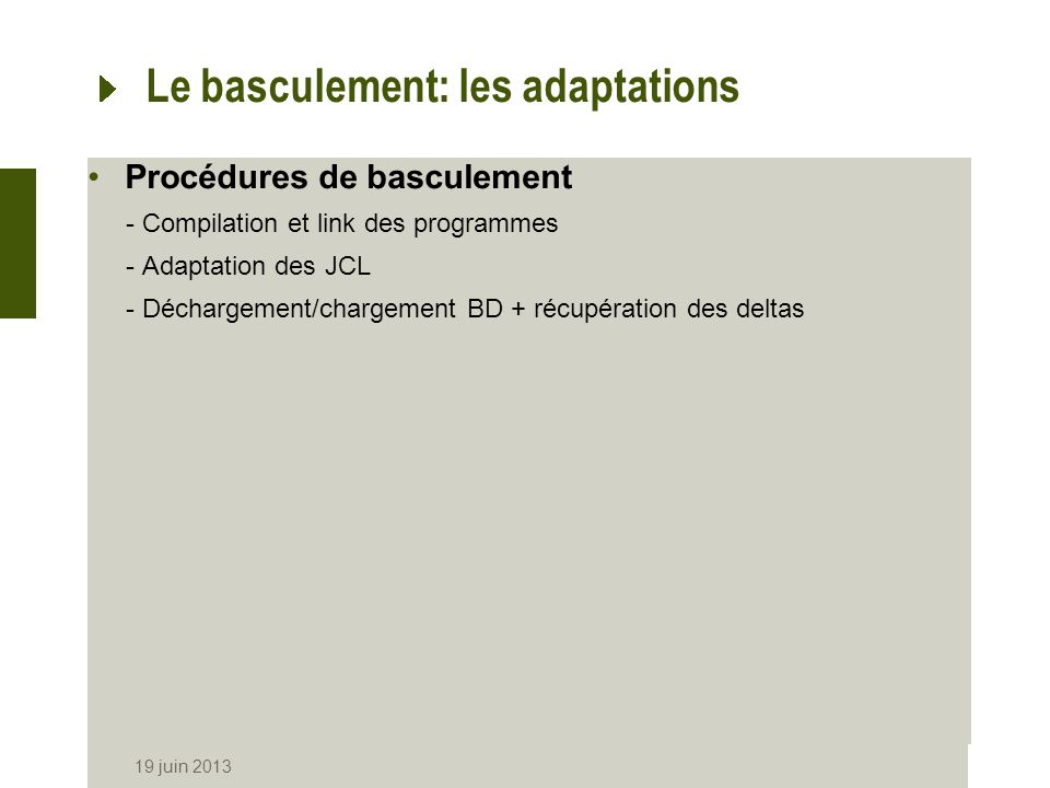 Le basculement: les adaptations