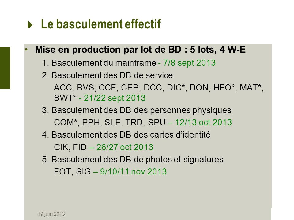 Le basculement effectif