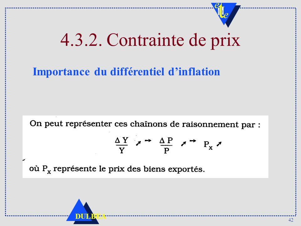 4.3.2. Contrainte de prix Importance du différentiel d'inflation