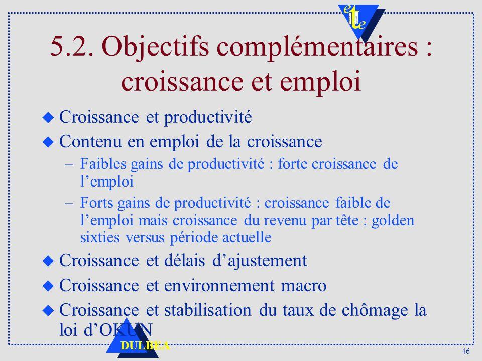 5.2. Objectifs complémentaires : croissance et emploi