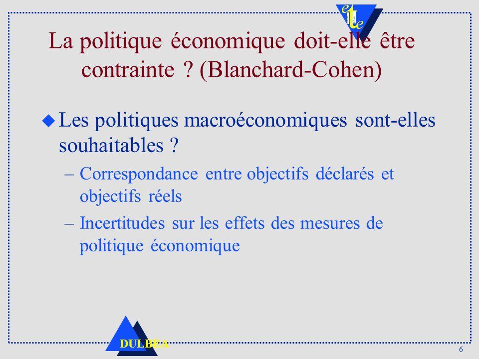 La politique économique doit-elle être contrainte (Blanchard-Cohen)