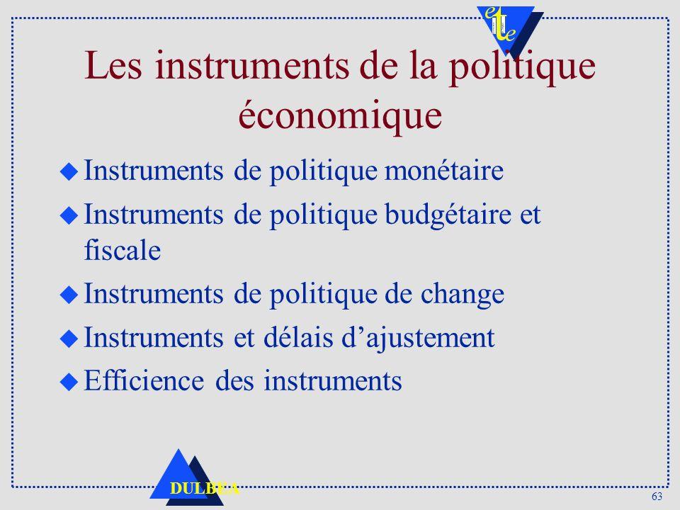 Les instruments de la politique économique