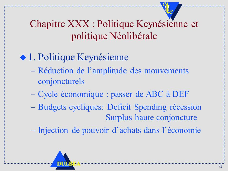 Chapitre XXX : Politique Keynésienne et politique Néolibérale