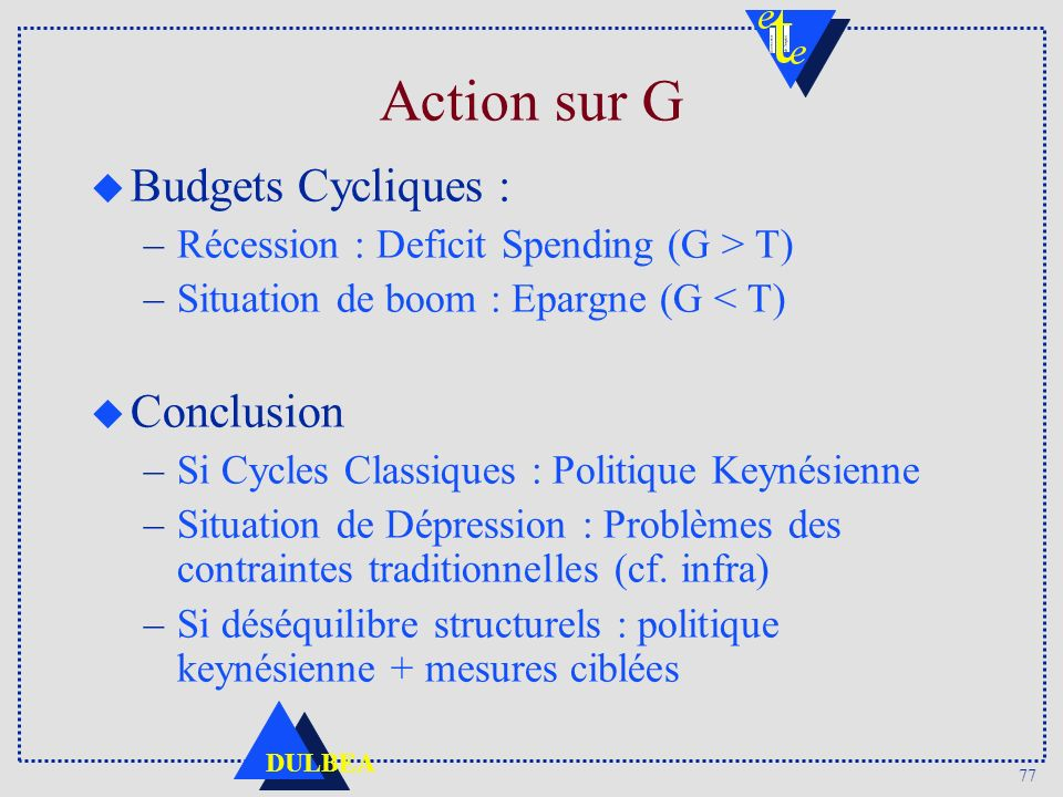 Action sur G Budgets Cycliques : Conclusion