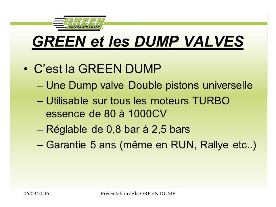 GREEN et les DUMP VALVES