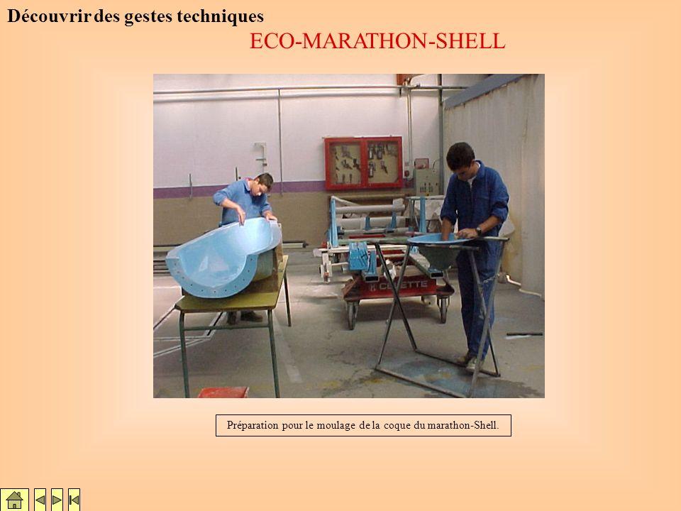 Préparation pour le moulage de la coque du marathon-Shell.