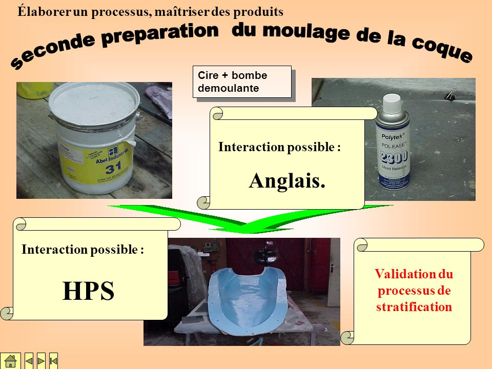 HPS seconde preparation du moulage de la coque Anglais.