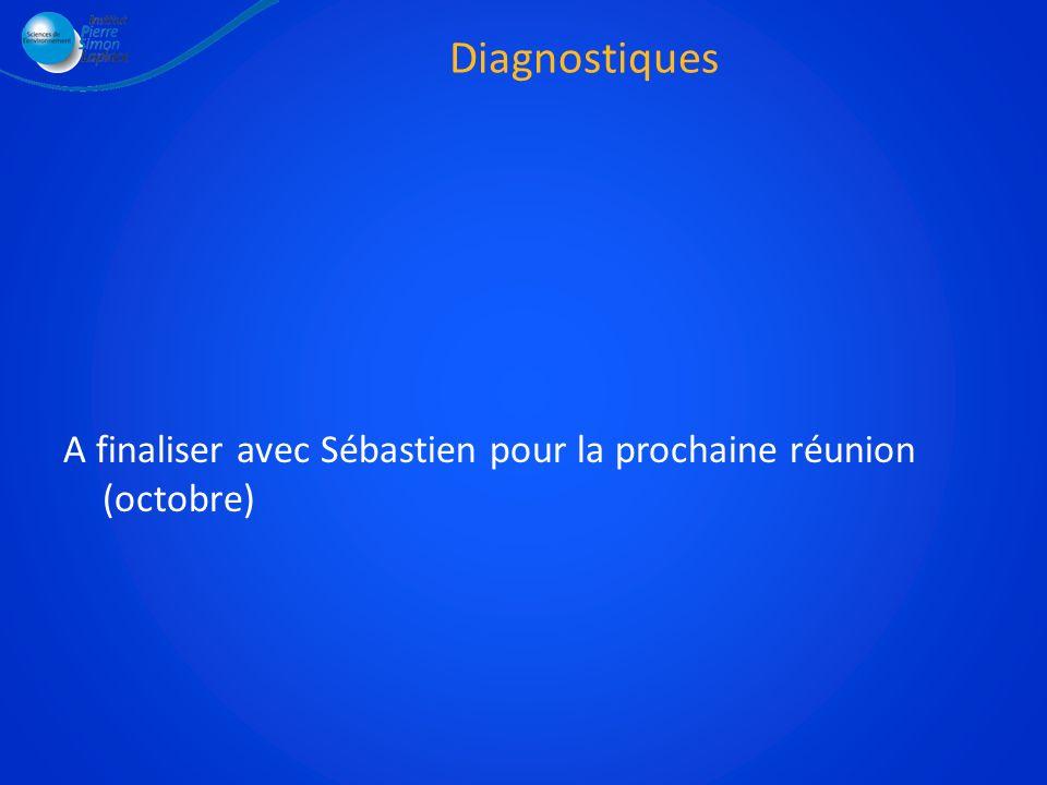 Diagnostiques A finaliser avec Sébastien pour la prochaine réunion (octobre)