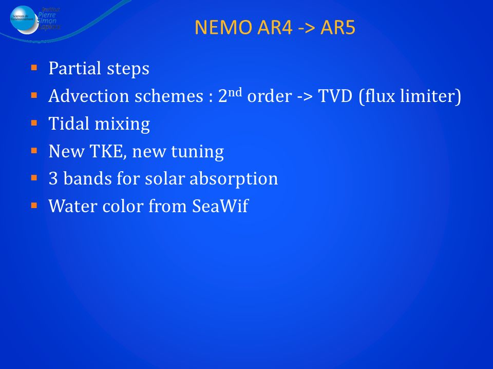 NEMO AR4 -> AR5 Partial steps