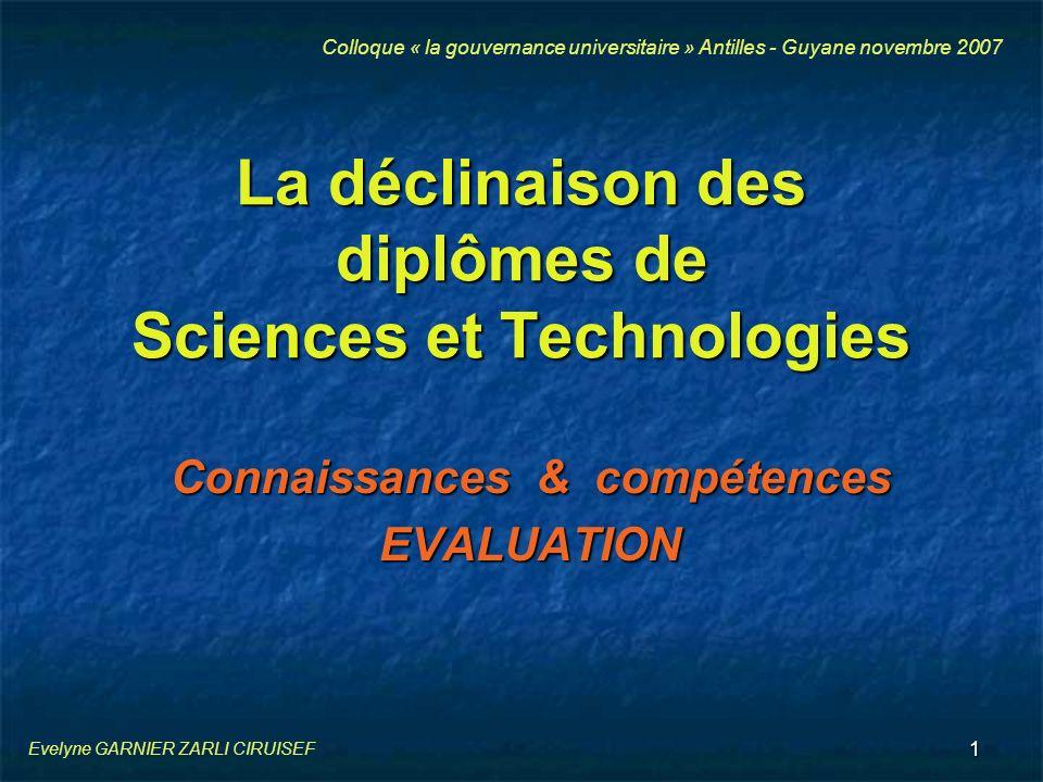 La déclinaison des diplômes de Sciences et Technologies